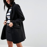 ASOS Slim Boyfriend Coat with Zip Pocket at asos.com