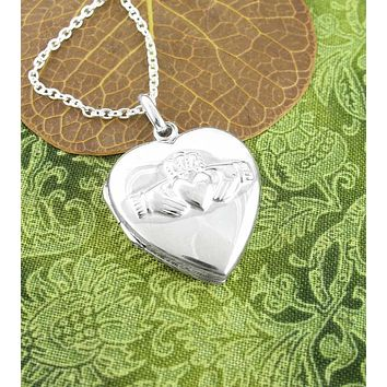 Heart-Shaped Claddagh Locket Necklace With Raised Design