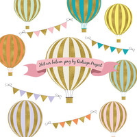 BUY2GET1FREE Gold Hot Air Balloon Clipart - Scrapbooking - Invitation- Personal and Commercial use - Instant download