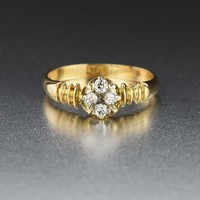18K Gold Vintage Diamond Cluster Engagement Ring