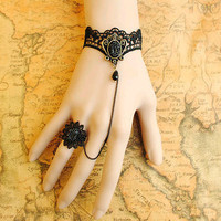 Gothic Lolita BLACK LACE bracelet Mirror w chain n ring Vampire style Costume Party Goth crispyBlack Friday / Cyber Monday weekend