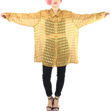 90s Sheer Gold Blouse See Through Shirt Long Sleeve Button Down Yellow Slouchy Sheer Shirt Star Geometric Squares Print Party Shirt (L/XL)