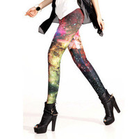 Galaxy Leggings Tights Space Cosmic Shiny Galexy Print Pant Fashion Trend S M L