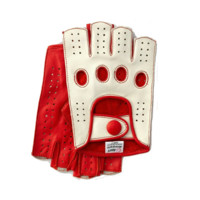 Riparo Men's Reverse Stitched Fingerless Leather Driving Gloves - White/Red