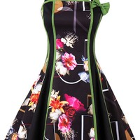 Atomic Black Floral Geometric Swing Dress
