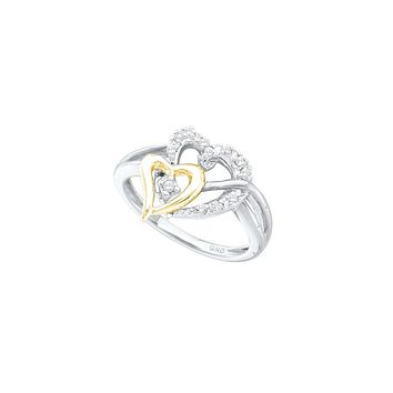 10kt Yellow Gold Womens Round Diamond Two-tone Double Heart Ring 1/10 Cttw