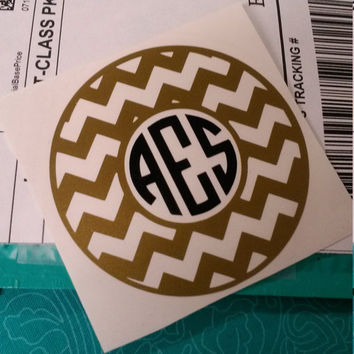 Chevron Monogram Decal | Chevron Decal | Monogram Decal | Car Decal | Monogram | Decal | Laptop Decal | Preppy Decal | Car Decal