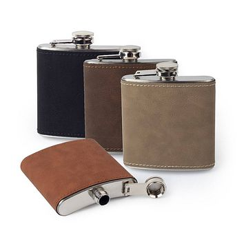 Custom Etched Saddle Leather Flask, 6 Ounce