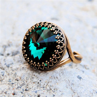 Swarovski Crystal Ring - Crown Victorian - Emerald Green and Antiqued Brass Adjustable Ring