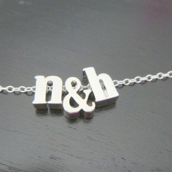 Two Letter Necklace,Lowercase Letter Necklace, Couple's Initial Necklace, Anniversary Present, Children Initials, Custom Initials necklace