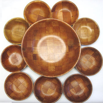 Vintage 10 Piece Wood Salad Bowl Serving Set 1 Large 9 Small Dish