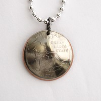 Michigan State Quarter Pendant Necklace 2004 Domed Coin