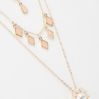 ASOS Pearl and Rose Multirow Necklace