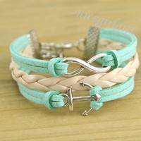 Sliver anchor bracelet and infinity bracelet green by nicegirlgift
