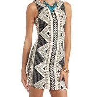Metallic Tribal Print Bodycon Dress by Charlotte Russe