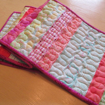 Spring Table Runner , Green Purple Blue Coral , Quilted Runner