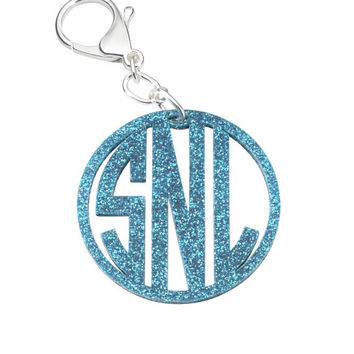 MONOGRAMMED ACRYLIC KEYCHAIN -Keychain- Luggage Tag- Personalized Keychain- Monogrammed with your Initials. Made of 2.5 in. Acrylic