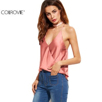 COLROVIE Sexy Low Cut Tops Sexy Womens Fashion Summer Vest Tops Sleeveless Pink Satin Wrap Plunge Cami Top Camisole
