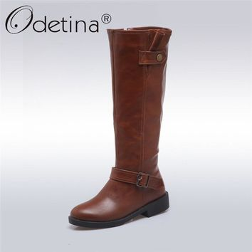 Odetina 2017 New Women Chunky Low Heel Riding Boots Wide Calf Side Zipper And Buckle Knee High Boots Winter Shoes Plus Size 43