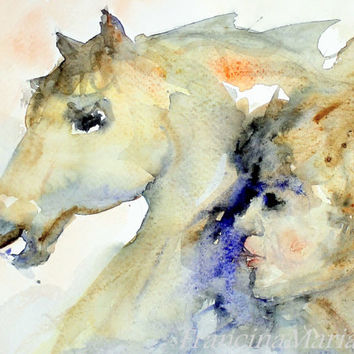 One mind, Surreal Watercolor Painting, original art, surrealism, portrait, fantasy, animal fiigure watercolour impresion