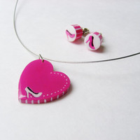 Heart Shaped High Heel Shoe Necklace and Stud Earrings, Pink Hand Painted Wooden Jewelry - Holiday Gift Wrapped