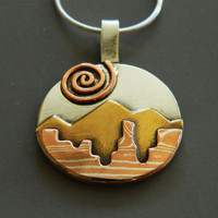 """Mixed metal jewelry, mokume gane, silver, brass, and copper landscape pendant, """"Perfect Landscape"""""""