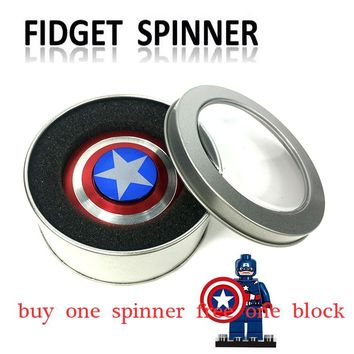 Fidget Spinner Metal Finger Spinner Captain America Shield Marvel Toy Tri Hand Spinners top beyblade Bearing Superheroes stress