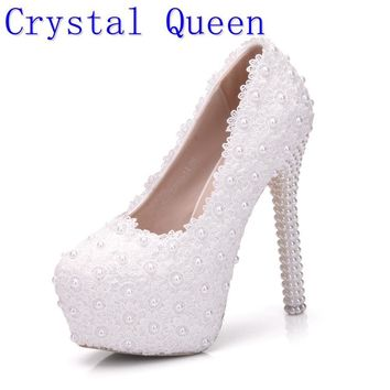Crystal Queen White Wedding Pumps Sweet White Flower Lace Pearl Platform High Heeled P