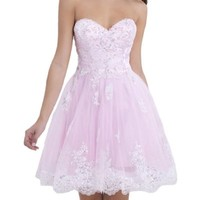 VILAVI Women's A-line Sweetheart Strapless Short Tulle Homecoming Dresses 6 Pink
