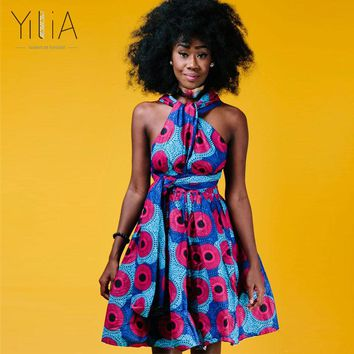 Yilia Many Ways Women Dress Summer 2018 Fashion African Print Clothing Casual Sexy A Line Beach Dresses Sundress Cross Back Robe