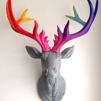 LARGE Unique Faux Taxidermy Stag Deer Head 'STORM'