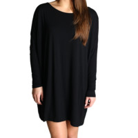Black Piko Tunic Long Sleeve Dress