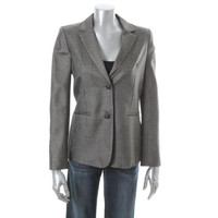 Theory Womens Beliena Wool Notch Collar Two-Button Blazer
