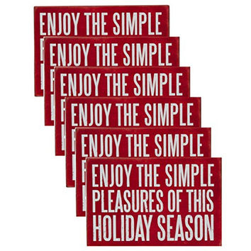 Enjoy the Simple Pleasures of this Holiday Season - Set of 6 Wooden Christmas Holiday Seasons Greetings Postcards