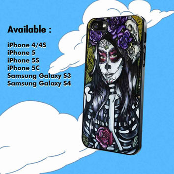floral sugar skull day of the dead for iPhone 4, iPhone 4s, iPhone 5, iPhone 5s, iPhone 5c, Samsung Galaxy S3/S4 Case