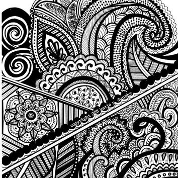 "Henna Abstract Line Drawing 8""x10"" Print Original Design by Katie N. Dunphy"
