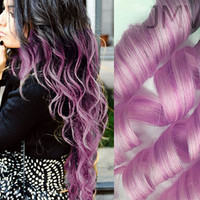 "Full Head Set 18"" #1b Pastel Pink 100% human hair Clip In Ombre extensions Black Straight Long"