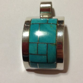 Navajo Turquoise Sterling Pendant Rob Livingston Inlay Enhancer Slide 4 Necklace Vintage Jewelry Southwestern Tribal Gift