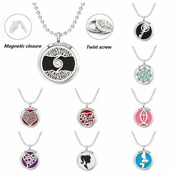Tree of life roots heart Mermaid 30mm diffuser Perfume locket pendant 316 L Stainless Steel necklace chain with 10pads as gift