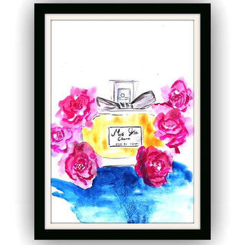 Miss Dior, Cherry, perfume bottle, Fashion, Beuty,Makeup, Wall Art, decor, watercolor painting, decal decals, print, girl room, illustration