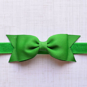 Green Bow Headband. Green Baby Headband. Green Hair Bow Headband. Baby Hair Accessories. Girls Hair Accessories. Emerald Green Hair Bow