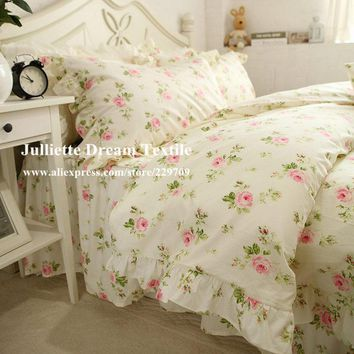 Hot Pastoral rose print bedding set Ruffle duvet cover bed sheet wrinkle bedspread princess elegant bedding dobby bed clothes
