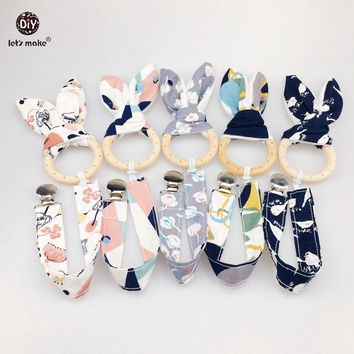 Let's Make Baby Accessories 5set/10pcs Bunny Ear Metal Pacifier Clip Cotton DIY Jewelry Sensory Toys Nursing Wooden Baby Teether