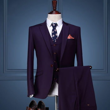 New Arrival Men's Dinner Party Prom Suits Groom Tuxedos Groomsmen Wedding Blazer Suits (Jacket+Pants+Vest) K:1168