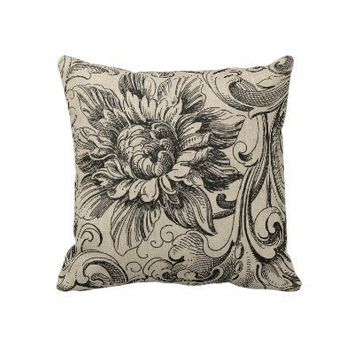 Elegant Vintage Black and Cream Florals and Damask Throw Pillows from Zazzle.com