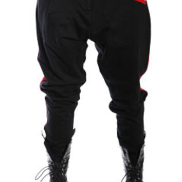 Black with Red Nappytabs Harem Zipper Tux Pants at Threader® Streetwear, Hip Hop Clothing, and Urban Clothing