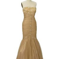 Strapless Ruched Gold Tulle Mermaid Gown- Old Hollywood Style Gowns-Evening Dresses