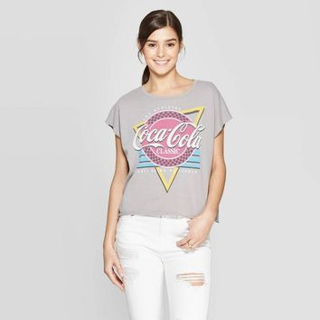 Women's Coca-Cola Short Sleeve Classic T-Shirt (Juniors') - Gray/Red/Blue