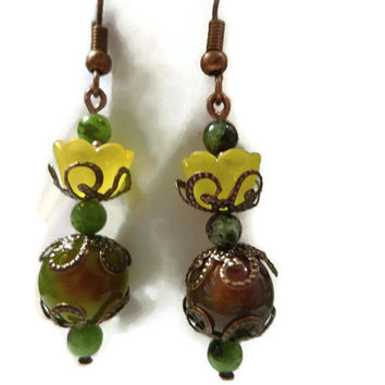 Victorian Look Yellow Flowers with Antique Copper Scroll Caps Dangle Earrings 105