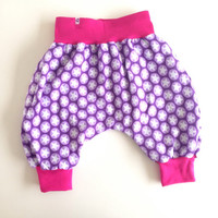 Reversible toddler infant harem pants. Girls winter pants. Knit fabric with elephants and stars. Pink waist band. Size: 12 - 18 months.